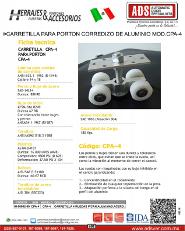 Herrajes y Accesorios Carretilla para Porton Corredizo de Aluminio MOD..CPA-4