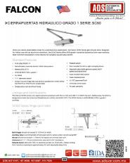 FALCON, Catalogo, Cierrapuertas Hidraulico Grado 1 SERIE.SC60