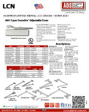 LCN, Catalogo, Cierrapuertas Hidraulico Grado 1 SERIE.4041