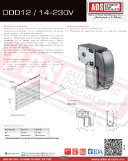 Abrepuertas Corredizo DITEC Ascendente DOD12-14-230V, Abrepuertas Modelo SERUNI-170-230V