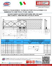 Especificaciones Tecnicas Porton Automatico Nanogate 8 Metros Peso 500KG, ADS Puertas & Portones Automaticos S.A. de C.V.