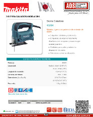 Makita, Sierra Caladora MOD.4328K, ADS Puertas & Portones Automaticos S.A. de C.V.
