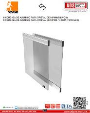 Mordaza de Aluminio Para Cristal de 9.5MM (SILICON)9.5MM-12.5(TORNILLO), ADS Puertas & Portones Automaticos S.A. de C.V.