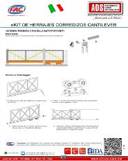 Manual Tecnico de instalacion Kit de Herrajes Corredizo Cantiever, ADS Puertas & Portones Automaticos S.A. de C.V.