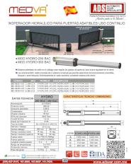 MEDVA, Catalogo, Operador Abatible Hidraulico MOD.HYDRO-280BAC MOD.HYDRO-360BAC