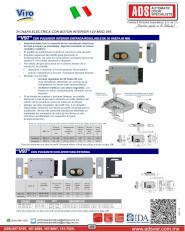 Viro Cerraduras Eléctricas con Pulsador Interior Entrada Regulable de 50 hasta 80 MM
